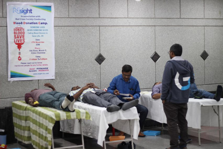 Blood Donation Camp organized at Nsight India Campus in Hyderabad on Nov 27th 2018